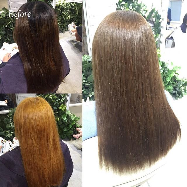 #beforeandafter 大人気の透明感カラー 一度明るくした髪は透明感がでます〜〜!!#アッシュミルクティーべージュ ︎